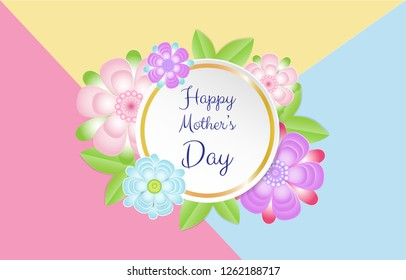Happy mother's Day card with beautiful flowers on pastel paper background. Vector illustration