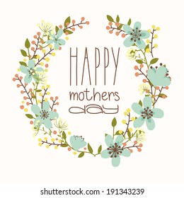 Happy mothers day card. Bright spring concept illustration with flowers in vector