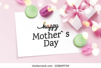 Happy mother`s day card with colorful macarons and gift box on pink background. Top view. Vector illustration