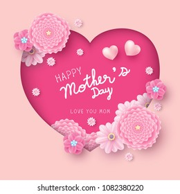 Happy mother's day card concept design of paper hearts shape and pink flowers vector illustration
