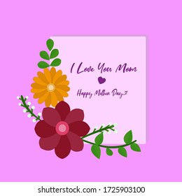 Happy mothers day card congratulates giving, i love you mom
