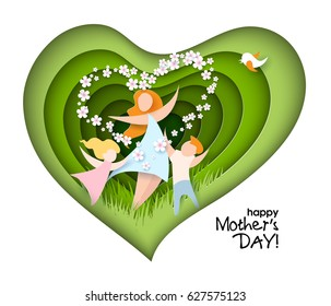 Happy Mothers Day card. Creative paper cut background with mom silhouette and her child with flowers. Vector illustration with beautiful woman and baby with paper frame heart shaped.
