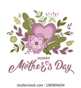 Happy Mother's day card design in purple and green with hand lettering text and flowers, branches, heart. Mothers day vector sign for card, invitation, poster, banner, email, web pages, greeting card