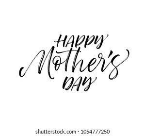 Happy Mother's day card. Holiday lettering. Ink illustration. Modern brush calligraphy. Isolated on white background.