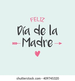 Happy mothers day card, icons heart and arrow. Spanish version.