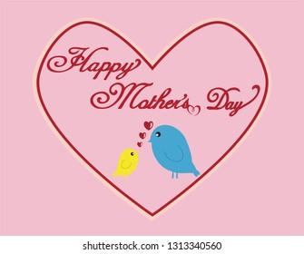 Happy mother's day card with lovely birds and heart shape