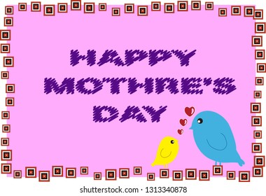 Happy mother's day card with lovely birds and colorful pattern