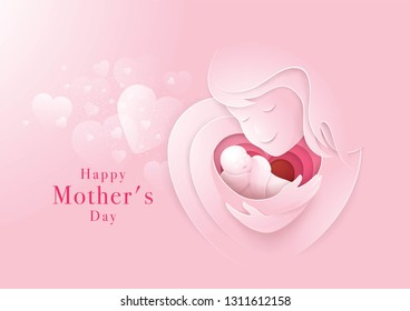 Happy Mothers Day card, Mother holding newborn baby, First Love My mom, Hug Hand in Heart Shape, Abstract Heart Background, Paper art vector