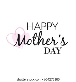 Happy Mother's day card with pink heart, Happy Mother's day Vector Illustration