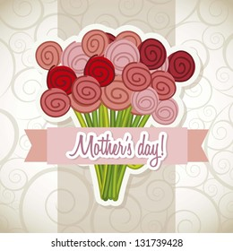 happy mothers day card with roses. vector illustration