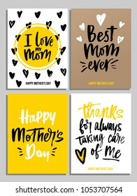 Happy Mother's Day card set in trendy colors with lettering. I love my Mom. Best Mom ever. Happy Mother's day. Thanks for always taking care of me. Modern lettering for greeting card or invitations.