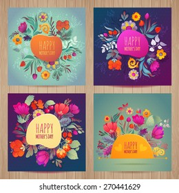 Happy Mother's Day card set Floral Compositions Tulip Daisy Cherry