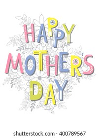 Happy Mother's Day card template, Vector. Hand lettering.