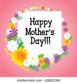 Happy mother's day card. Wreath of flowers on a pink background. Vector illustration.