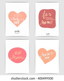 Happy mothers day cards. Mother's day vector set. Mom's day, best mom, for my mom, happy mothers day, with love.