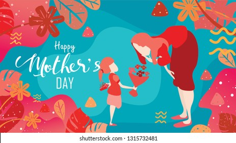 Happy mother's day! Child daughter congratulates mom and gives her flowers tulips and a gift box behind backs . Vector illustration flat design style with living coral color trendy 2019. - vector