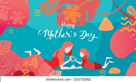 Happy mother's day! Child daughter congratulates mom playing and laughing with hands showing heart shape symbol. Vector flat cartoon design style with living coral color trendy 2019. - vector