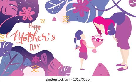 Happy mother's day! Child daughter congratulates mom and gives her flowers tulips. Mum smiling and surprising. Vector illustration flat design style. - Vector