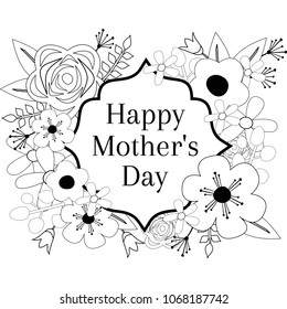Happy Mother's Day Coloring Page Outline Vector Graphic, Floral Frame Greeting Card