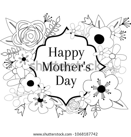 Happy Mothers Day Coloring Page Outline Stock Vector Royalty Free