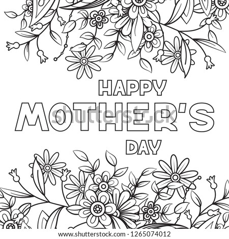 Happy Mothers Day Coloring Page Adult Stock Vector Royalty Free