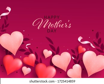 Happy Mother's Day concept with Stylish Text and Heart Shapes on Pink Background.