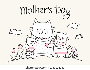 Happy Mothers Day crad with cat mom and little kitties. Flat vector Mother`s Day animal illustration