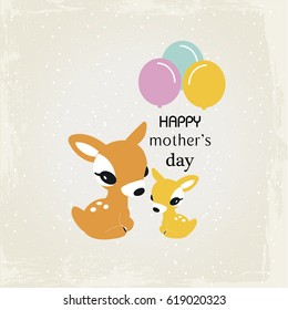 Happy mother's day with cute animal cartoon .Mom and Baby