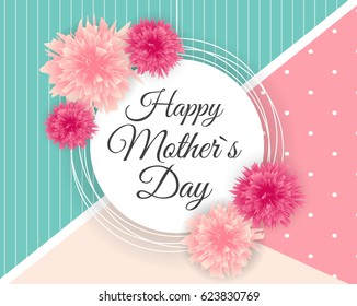 Happy Mother`s Day Cute Background with Flowers. Vector Illustration EPS10