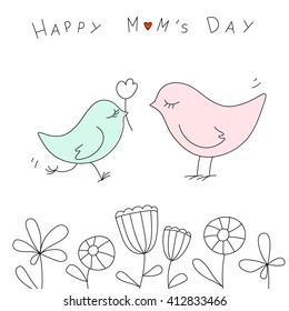 Happy mother's day with cute birds in Doodle style.