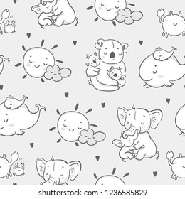 Happy mothers day! Cute various cartoon mothers with their kids. Hand drawn vector seamless pattern. Grey background