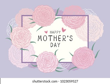 Happy Mothers day design of pink carnation flowers vector illustration
