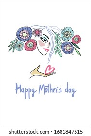 Happy Mothers Day design. Woman with flowers in her hair and a heart on her palm. Hand-lettered greeting phrase. Late 1960s - early 1970s style