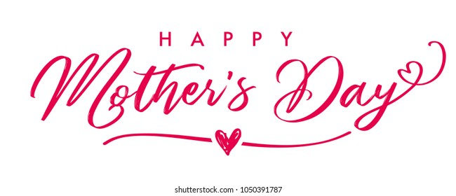 Happy Mother`s Day elegant calligraphy banner. Lettering vector text and heart in frame background for Mother's Day. Best mom ever greeting card