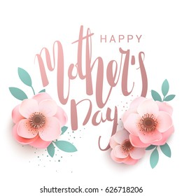 Happy Mother's Day elegant inscription lettering. Greeting card with flowers in pink tones. Vector illustration.