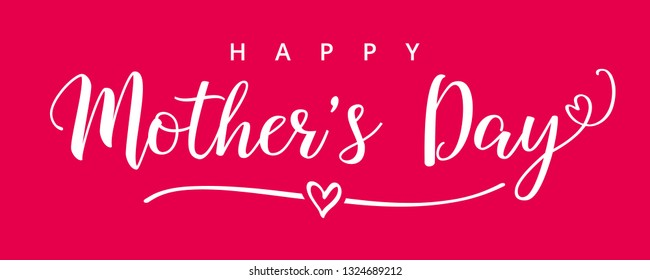 Happy Mothers Day elegant lettering pink banner. Calligraphy text and heart in line on rose colored background for Mother's Day. Best mom ever vector illustration