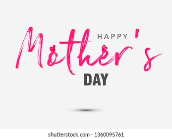 Happy Mother`s Day elegant lettering banner with beautiful decorated background. Calligraphy vector text and heart in frame background for Mother's Day. Best mom ever greeting card - Vector