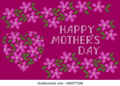 Happy Mothers Day Embroidered Handmade Cross-stitch Ethnic Greeting Card with Heart and Flowers on the Red Background.