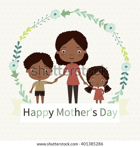 Happy Mothers Day Family Mom Kids Stock Vector Royalty Free
