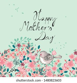 happy mother`s day floral card with cute bird