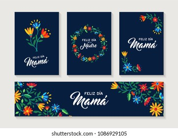 Happy Mothers day floral greeting card set with spring flower illustrations and nature decoration in spanish language. EPS10 vector.