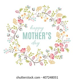 Happy Mother's Day floral greeting. Vector background
