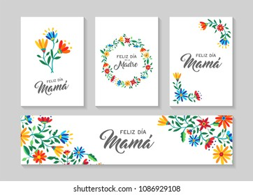 Happy mothers day flower greeting card and label set in spanish language with beautiful spring flowers, nature decoration collection. EPS10 vector.