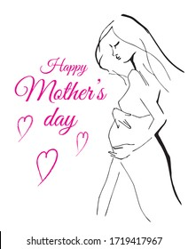 Happy Mother`s Day flyer, banner or poster, silhouette of a mother. Vector illustration