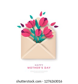 Happy Mothers Day gift, envelope with flowers. Vector illustration. Paper cut style blooming tulips, top view. Festive greeting concept.