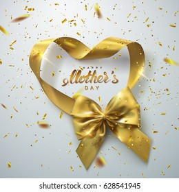 Happy Mothers Day. Golden Bow And Heart Looped Ribbon With Golden Sparkling Confetti Particles. Vector Holiday Illustration. Realistic Decoration Element For Design