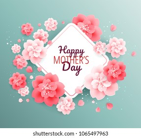 Happy Mothers Day green background with beautiful pink flowers - vector illustration