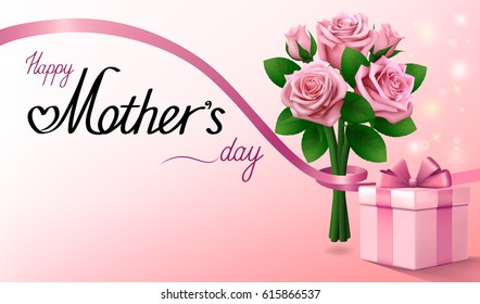 Mothers day card images stock photos vectors shutterstock happy mothers day greeting background with gift box bouquet of pink roses and ribbon m4hsunfo