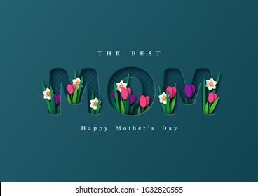 Hyvää Äitienpäivää tervehdyskortti. Paperi leikkokukat tulppaanit ja narsissit, loma tausta. Vektorin kuva.