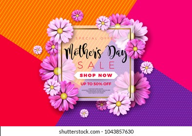 Happy Mothers Day Greeting card design with flower and typographic elements on abstract background. Vector Celebration Illustration template for banner, flyer, invitation, brochure, poster.